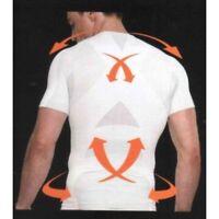 Mens Max Core Small White Ribbed T Shirt Posture Running Underwear Shapewear UK