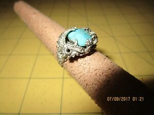 Dragon STERLING SILVER 925 Ring - Size 7 .5 turquoise