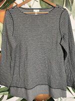J Jill Womens Size M Medium Boatneck Striped Long Sleeve Shirt Top