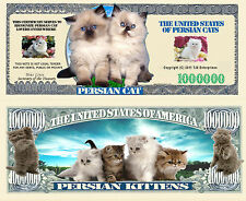 Persian Cat and Kittens Million Dollar Bill Collectible Funny Money Novelty Note