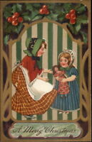 Christmas - Little Girls & Their Dolly HG Zimmerman & Co Postcard c1910