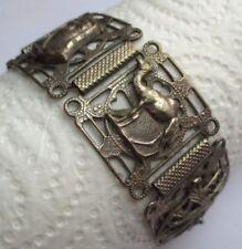 Beau bracelet ancien bijou marocain couleur argent ciselé larges maillons  2347