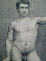Rare grand dessin nu masculin XIXème homme étude académique cadre