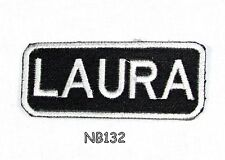 Laura Iron on Name Badge Patch for Motorcycle Biker Vest jacket NB132