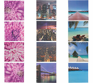Set of 4 Decorative Printed Wall Art Panels - Tropical, New York or Floral
