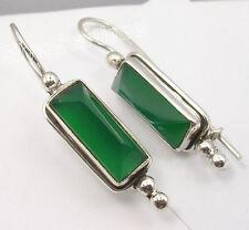 "925 Sterling Silver GREEN ONYX PYRAMID Gemstone Earrings 1.5"" 6.7 Grams"