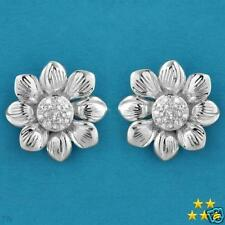 925 STERLING SILVER 0.30 CTW DIAMONDS FLOWERS RING & EARRINGS SET