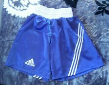 Original Adidas Boxing Shorts Blue Shiny Glanz Satin Size XL Gay Gym Gear Muscle