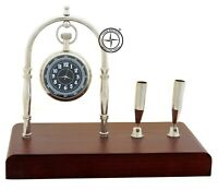Maritime Brass Desk Clock & Pen Holder With Wooden Home Decor Nautical