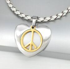 Silver Gold Retro Love Heart Peace Symbol Pendant White Braided Leather Necklace
