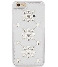 NWT Michael Kors Jeweled Crystal Leather iPhone 6/6s Case Cover Gray Silver $75