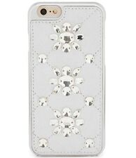 New Michael Kors Jeweled Crystal Leather iPhone 6/6s Case Cover Silver $75