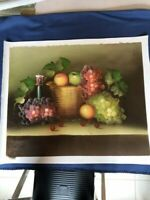 "Fruits 23""x28"" Original Oil Painting Food Canvas Art Realism Signed"