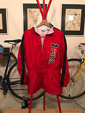 VINTAGE FILA LOGO ZIP-UP WINDBREAKER LARGE JACKET NAVY/RED 90s SPELL OUT L Large