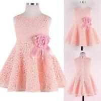 Infant Baby Girls Kids Lace Floral Wedding Dress Children Princess Party Dress