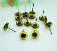 100pcs 9mm Glass Eyes On Wire Amber Color Toy Teddy Eyes Puppets Dolls Crafts