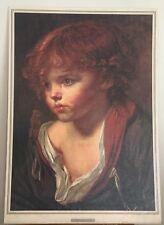 "Ragazzo Biondo by J. B. Greuze 30"" x 21"" Painting on Plywood, no framed,Pre-own."