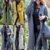 Spring Winter Women Hooded Knit Cardigan Sweater Outwear Long Jacket Trench Coat