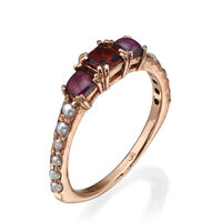 Antique Victorian vintage Style 14K Rose Gold Ring with pearls and garnet.
