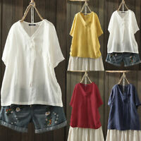 ZANZEA Women's Cotton V Neck T-Shirt Summer Casual Plain Blouse Shirt Tops Tee