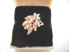 ANTIQUE JEWELLERY GOLD RING with PINK and WHITE SAPPHIRES VINTAGE JEWELRY