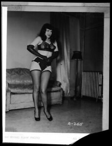 Bettie Page Leggy Exotic Glamour Pin Up Vintage Duplicate 4x5 Negative Irv Klaw