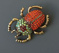 Beetle brooch Pin In enamel on Gold tone Metal with crystals