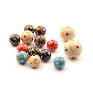 Lot (14) Vintage Czech spot and yellow swirl multicolor lampwork glass beads