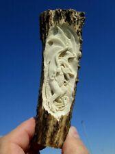 Drache , 2 keltische Drachen , Griff in Horn geschnitzt