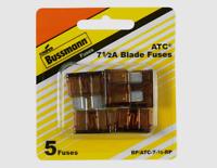 """5pk Bussmann Buss ATC 7.5 Amp 32V Auto Car Truck 0.8"""" Blade Fuse BP/ATC-7-1/2-RP"""