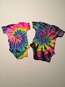 *New* Handmade, Rainbow Tie Dye Baby (2) Onesies Newborn-3T 30 Years Experience!