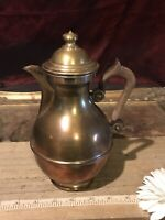 "Vintage Brass Pot, Thin Metal Teapot w/Wood Handle 8 1/2""x5 1/2"""
