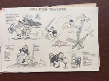B9f Ephemera 1936 Original Cartoon Middleton News Items Travestied