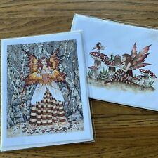 2 Amy Brown Fantasy Art Greeting Cards Fairies Book Worm 2000 2001 Unused