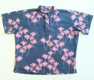 SIG ZANE Mens Navy Hawaiian Ti Leaf Print Aloha Shirt