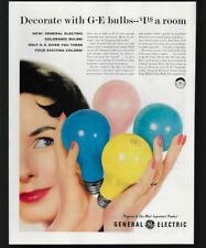 1957 Vintage Print Ad 50's GE general electric color lightbulbs light lamp bulb