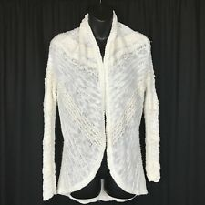 Knitted and Knotted Woman's XS Cardigan Sweater White Long Sleeve Cotton