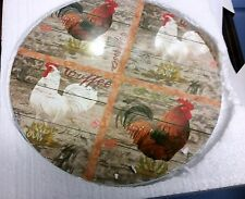 "1 Rare New Wall Decor Round Plaque, 10"", 4 Roosters # 2"