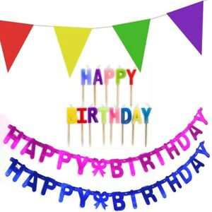 HAPPY BIRTHDAY PARTY BUNTING/CANDLES/BANNERS Horns Blowers Pennant Cake Toppers