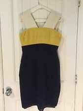 LIDA BADAY Yellow, Cream, And Navy Colorblock Ponte Knit Dress Size 12
