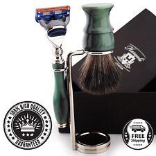 Luxury Limited Edition Shaving Set 5 Edge Blades & Synthetic Black Badger Brush