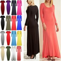 Womens Maxi Dress Ladies 3/4 Sleeve Celebrity Stretchy Flared Swing Long Dresses