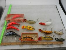 LOT OF 12 VINTAGE HEDDON TADPOLLY, MAGNUM, TINY TAD, FISHING LURES