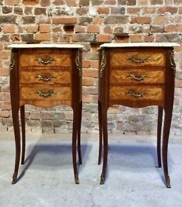 Fabulous French Louis XV Marble Bombe Commode Bedside Cabinets Tables Set 1