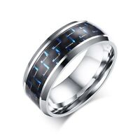 8MM Blue/Red Carbon Fiber Silver Stainless Steel Ring Men's Titanium Band Sz7-12