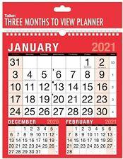 2019 Hanging Calendar Three Month to View Spiral Bound Wall Planner
