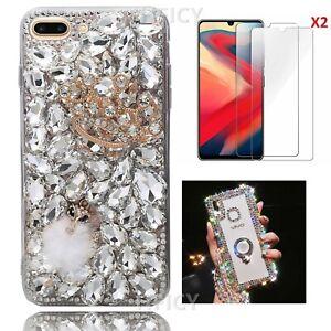 3D Bling Diamonds Luxury Soft Phone Cases Cover & Strap & Films For Women Girl G
