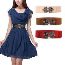 Hook Metal Flower Stretch Wide Waistband Women Waist Belts Leather Girdle