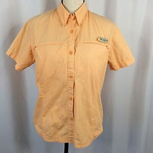 Columbia Top Womens Medium Orange Fishing Vented Short Sleeve Button Down Cotton