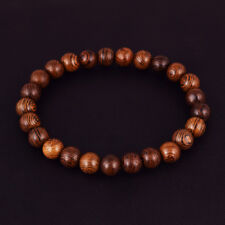 8mm Natural Wood Stripes Round Beaded Stretch Bracelet Fashion Jewelry